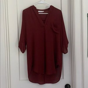 lush wine colored mid- sleeve blouse
